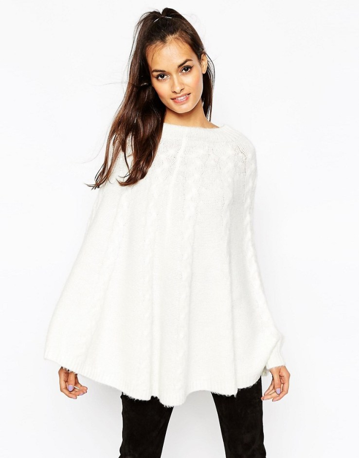 ASOS Cable Cape Sweater in Fluffy Yarn