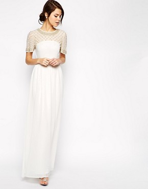 Image 1 of ASOS Lattice Embellished Flutter Sleeve Maxi Dress