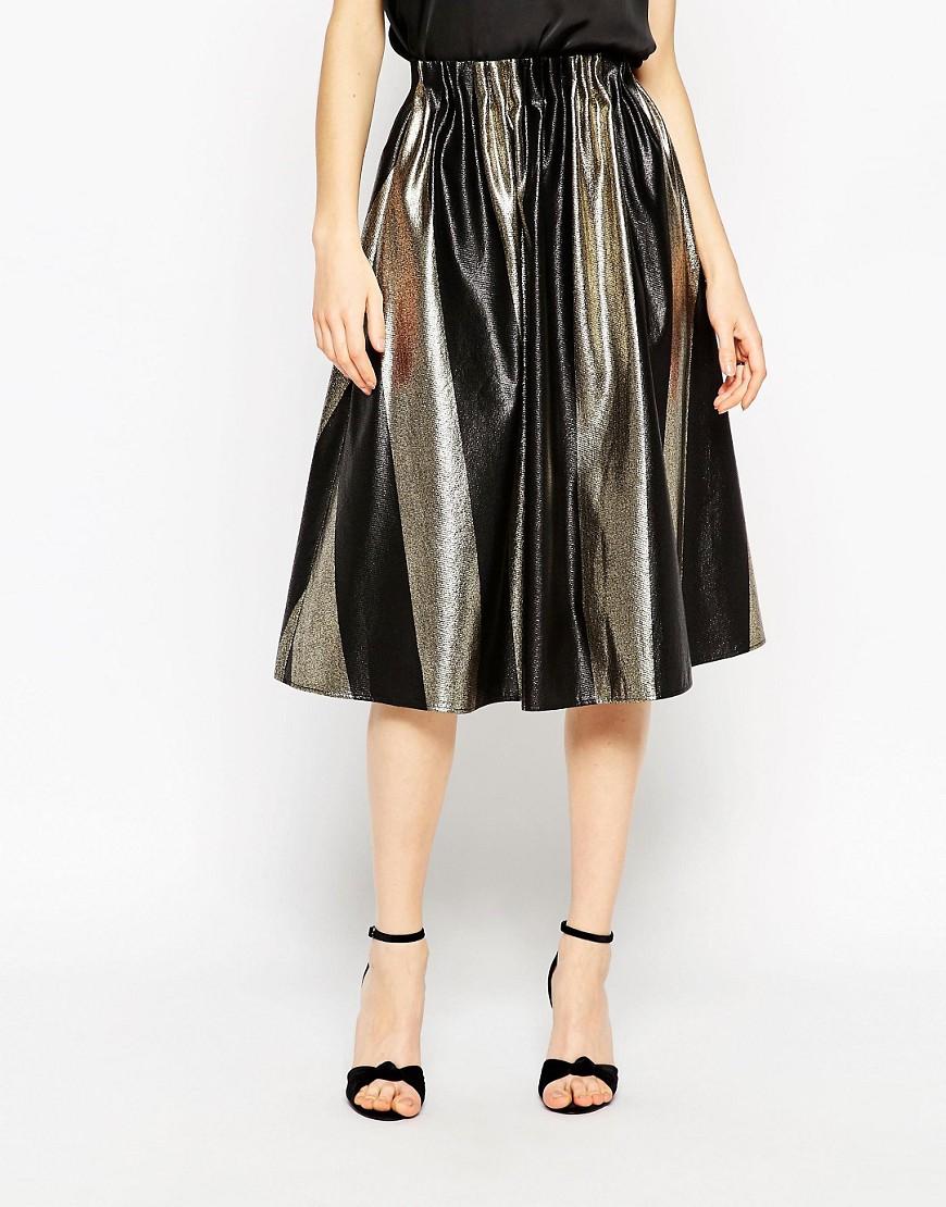 Image 4 ofASOS Midi Skirt In Bold Metallic Stripe