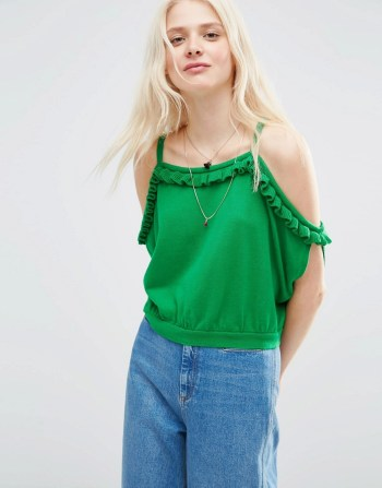 ASOS Knitted Top With Ruffle Off Shoulder in the color of the summer parakeet green