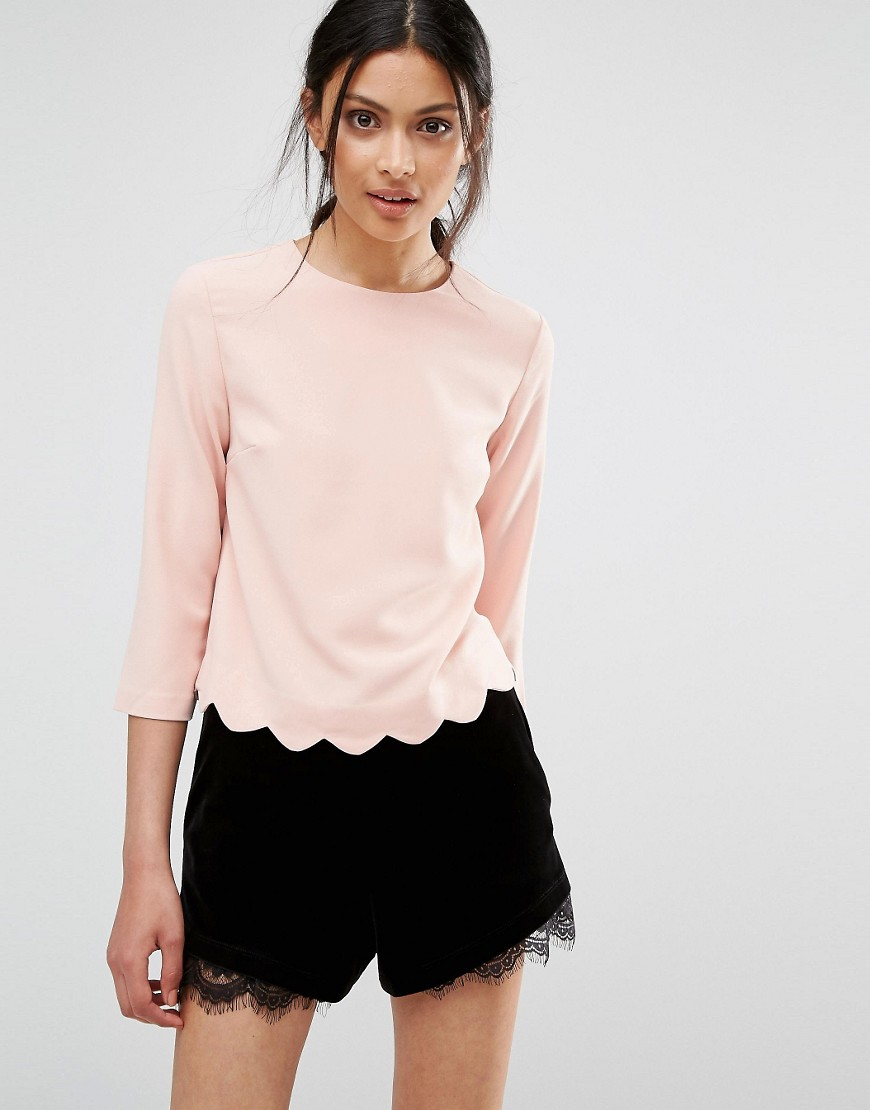 Oasis Top With Scallop Hem