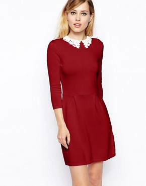 Image 1 of ASOS Knitted Skater Dress With Lace Collar