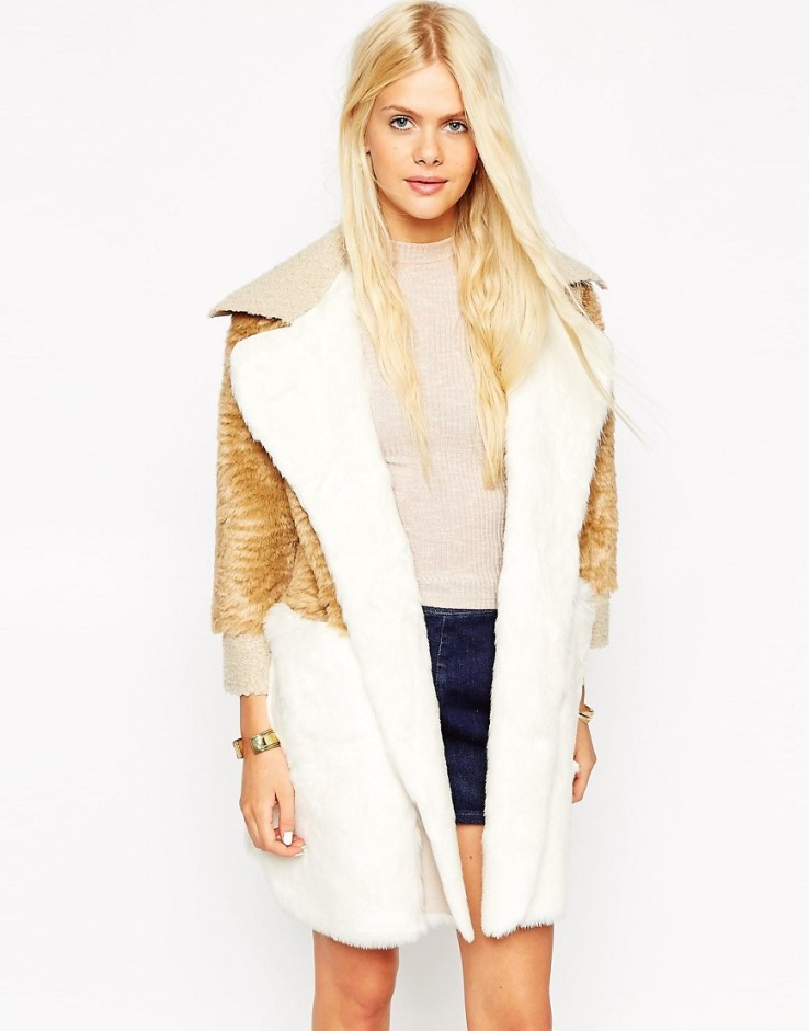 ASOS Coat in Patchwork Faux Fur & Faux Shearling