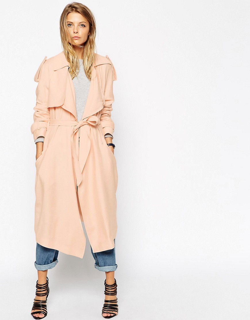 Image 1 of ASOS Trench with Waterfall Drape
