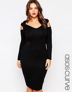 ASOS CURVE Midi Bodycon Dress with Mesh Inserts