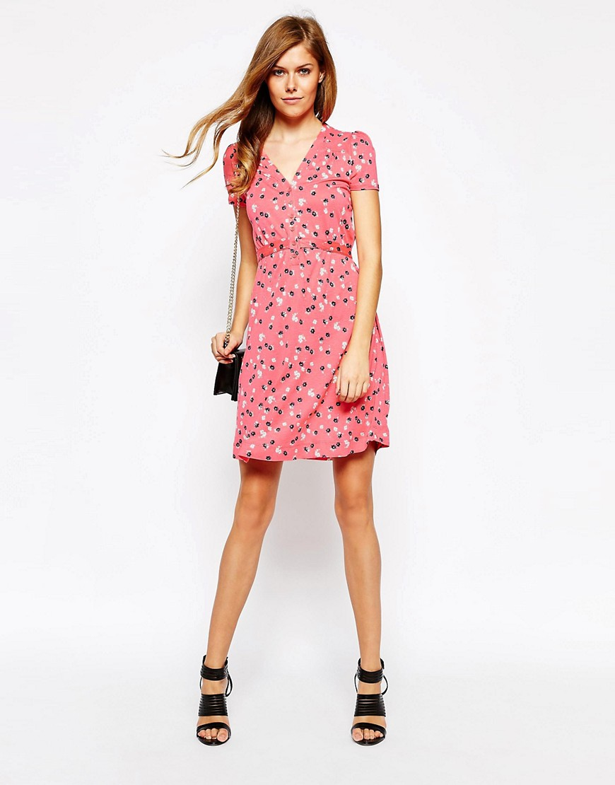 French Connection Short Sleeve Floral Print Tea Dress
