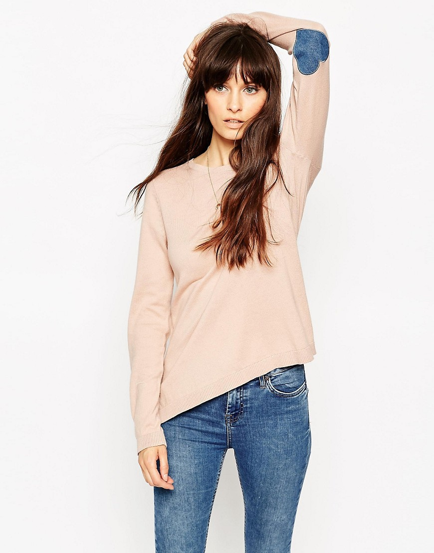 ASOS Jumper With Heart Elbow Patch