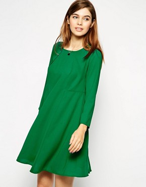 Image 1 ofASOS Woven Full Swing Dress with Seam Detail and Long Sleeves