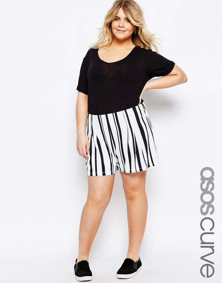 Image 1 ofASOS CURVE Mono Stripe Culottes