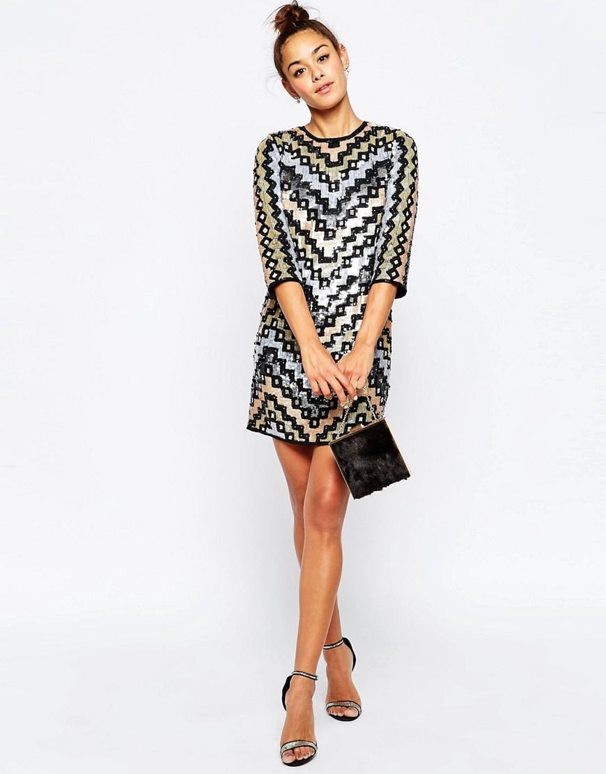 Image 4 - ASOS - Mini robe droite à sequins motif géométrique