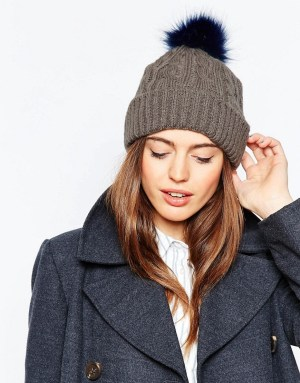 Cable Faux Fur Pom Beanie at Asos