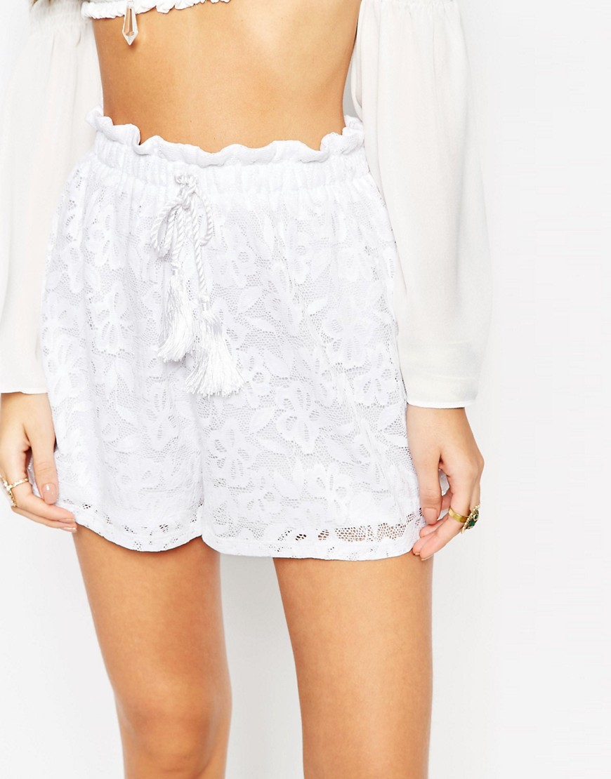 Image 3 of ASOS Paperbag Shorts in lace with Tassle Tie