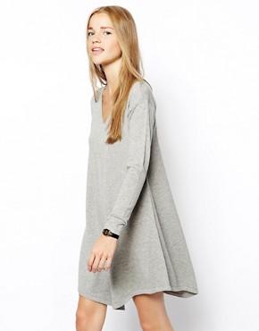 Image 1 ofASOS Knitted Swing Dress With V-Neck