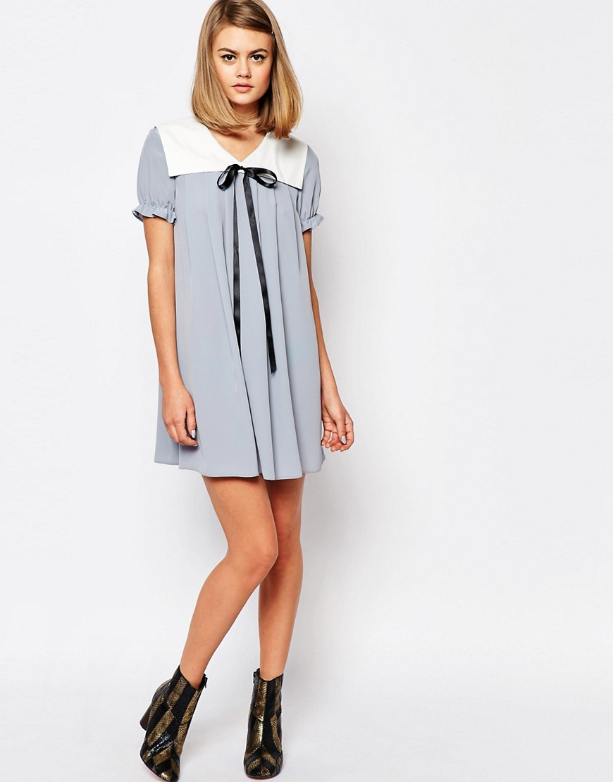 Image 4 of Reclaimed Vintage X Liquid Lunch Babydoll Dress With Collar & Tie Detail