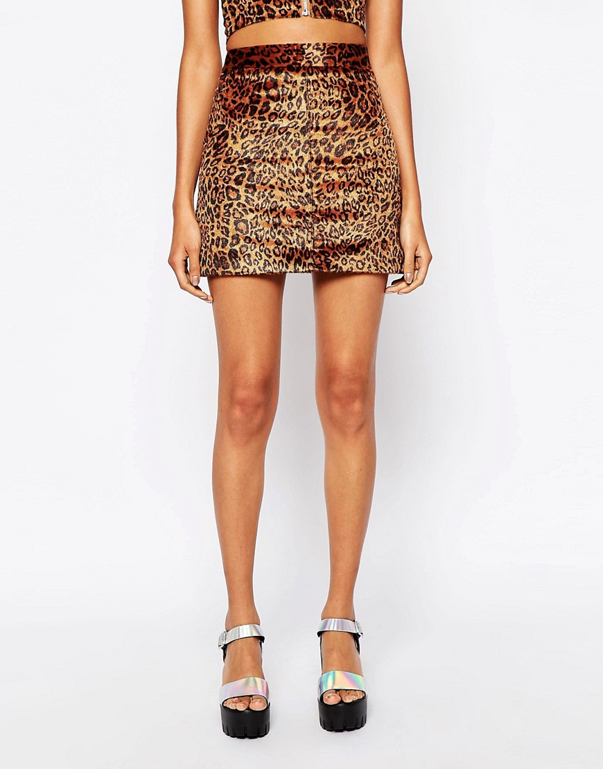 Image 4 of Story Of Lola Festival Mini Skirt In Faux Fur Leopard Print co-ord