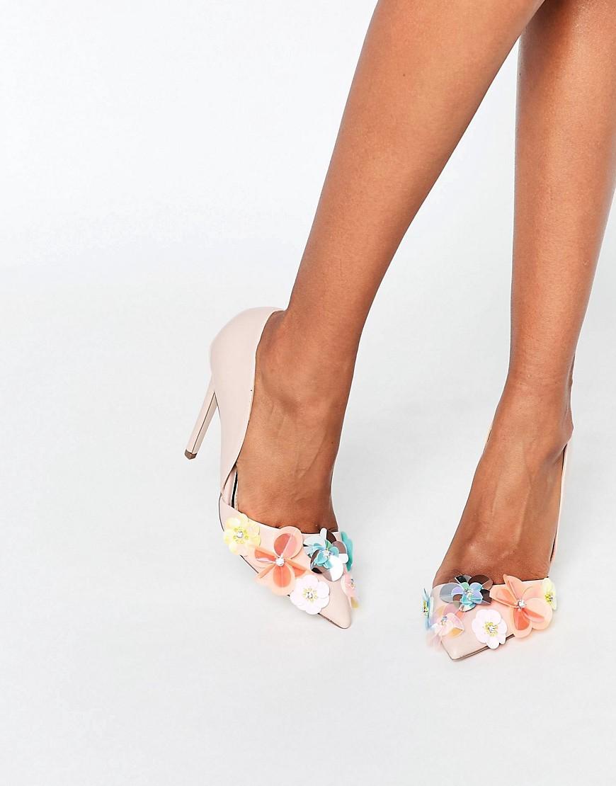 Image 1 ofMiss KG Caela Floral Embellished Heeled Court Shoes