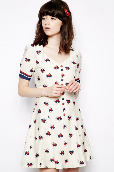 Umbrella Print Sweetheart Dress £50 by Nishe from ASOS