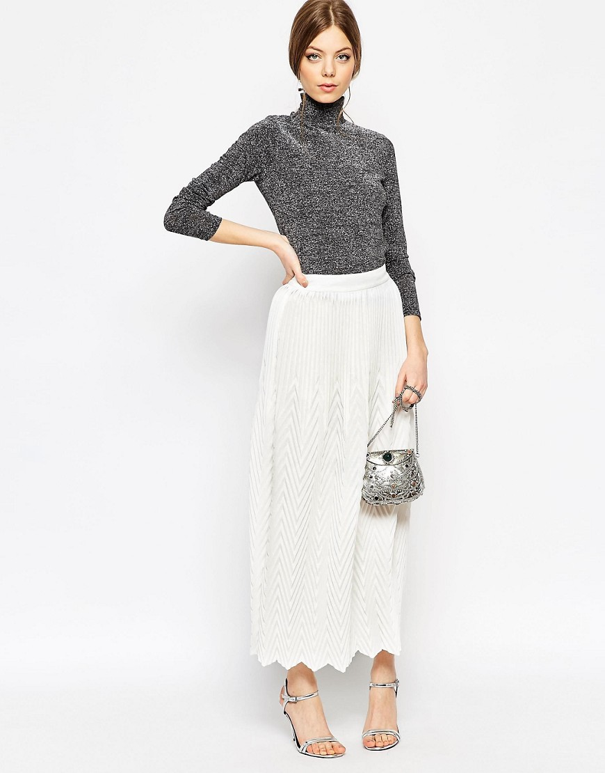 Image 1 of ASOS Chevron Pleat Maxi Skirt