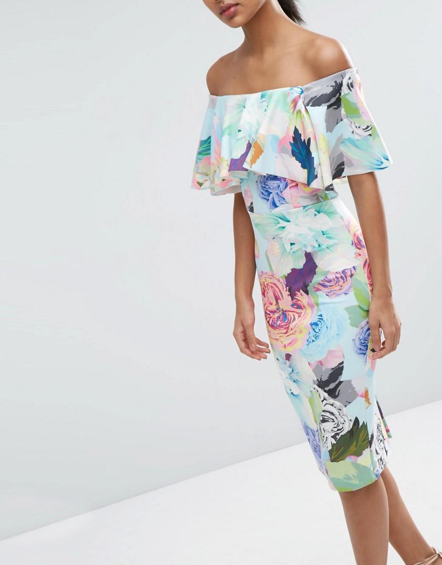 Imagen 3 de Vestido palabra de honor a media pierna con volante doble y estampado floral golosina de ASOS