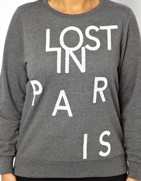 Image 3 of ASOS CURVE Exclusive Sweat With Lost In Paris Print