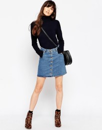 Image 1 of ASOS Denim Dolly Button Through Skirt In Mid Wash Blue