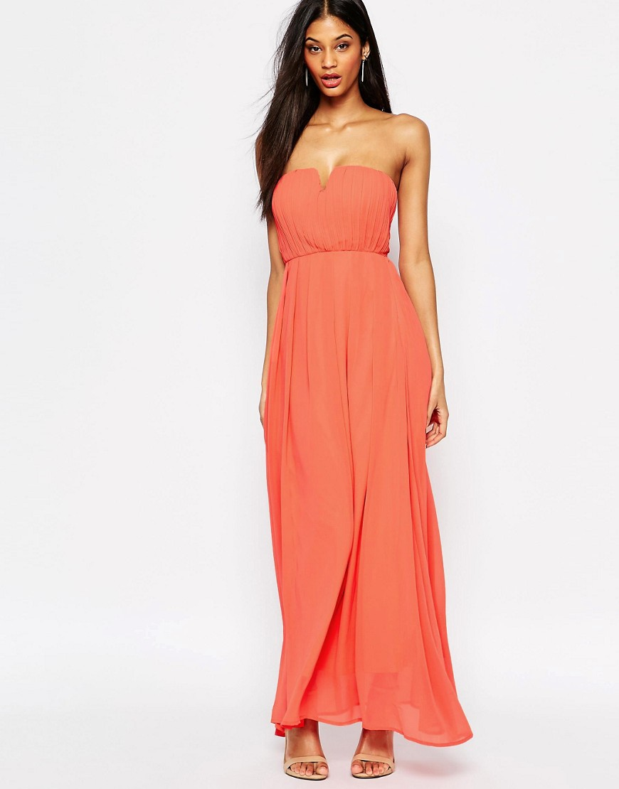 Pleat Front Maxi Dress By AX Paris Coral