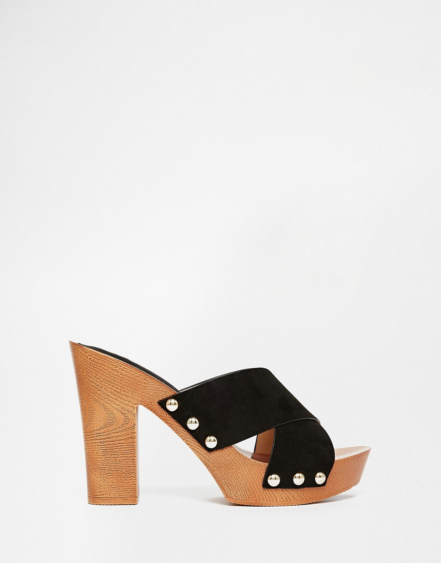 Image 1 of River Island Cross Strap Wood Effect Heeled Mule Sandals