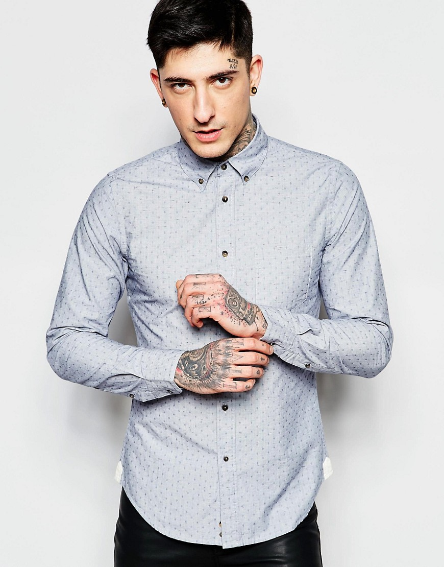 Image 1 of Sisley Slim Fit Flecked Shirt with Button Down Collar
