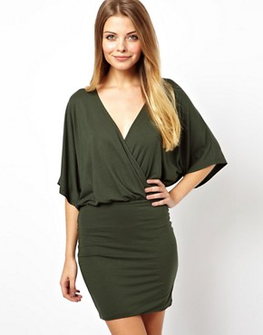 Image 1 ofASOS Mini Dress With Cross Front And Batwing