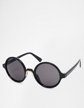 Image 1 of ASOS Round Sunglasses With Metal Nose Insert