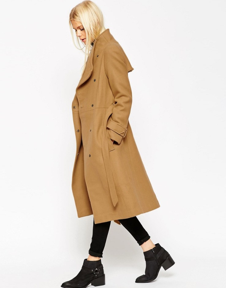 ASOS Coat With Funnel Neck And Belt - Camel