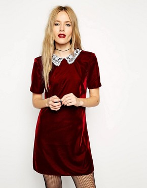 Image 1 of ASOS Reclaimed Vintage Dress in Red Velvet with Crochet Collar