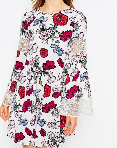 Lace Insert Swing Dress in Print £30 from ASOS