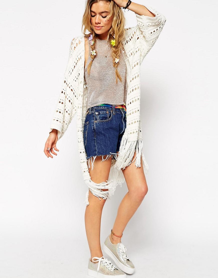Image 4 ofASOS Crochet Kimono Cardigan