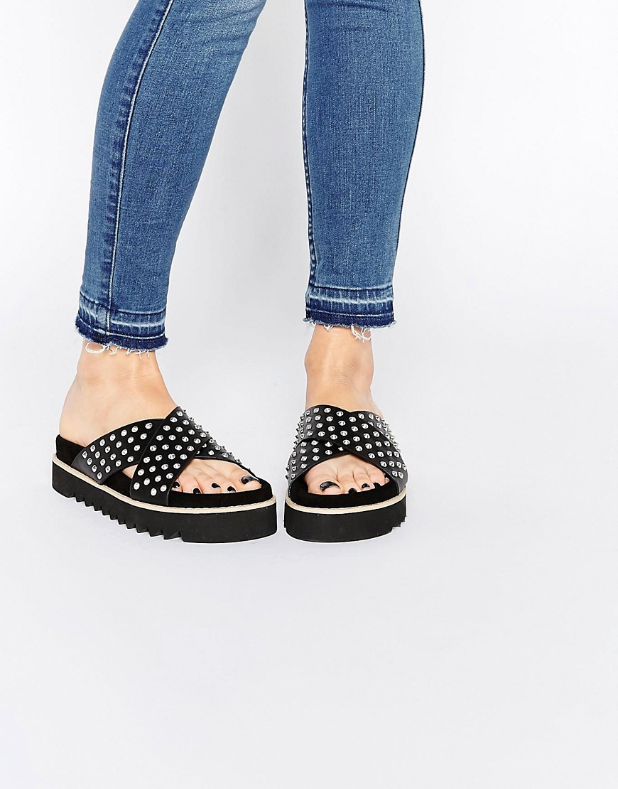 Image 1 of ASOS FOUNDED Studded Sliders