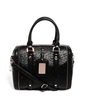 Image 1 of Faith Faux Ostrich Zip Detail Bowler Bag