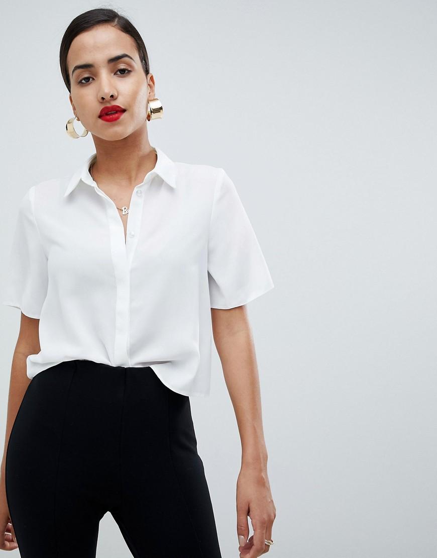 ASOS - Weiches Hemd mit kurzen Ärmeln - Weiß