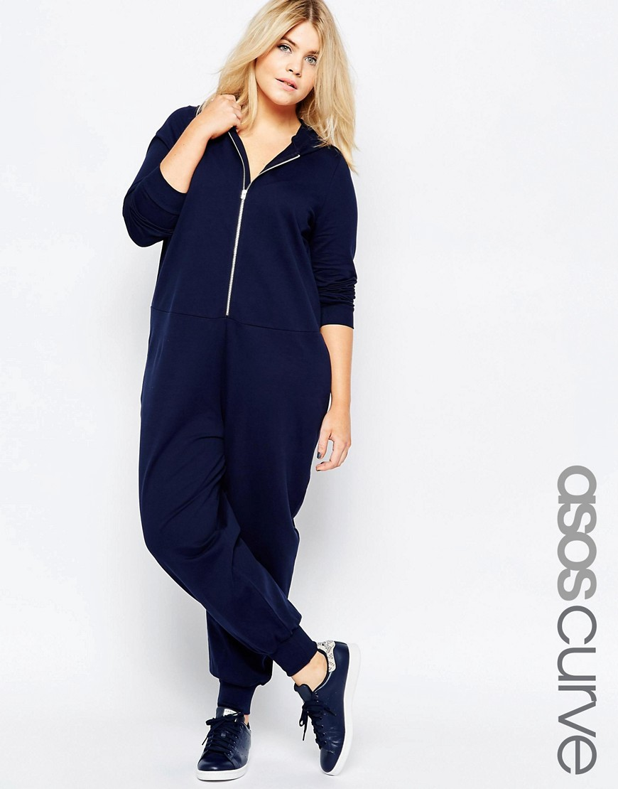 Image 1 of ASOS CURVE Plain Onesie with Hood