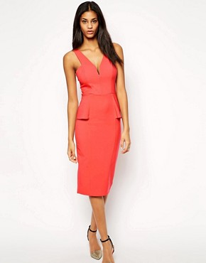ASOS Deep Plunge Pencil Dress With Peplum
