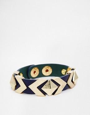Image 1 ofAshiana Leather Cuff With Pyramid Studs