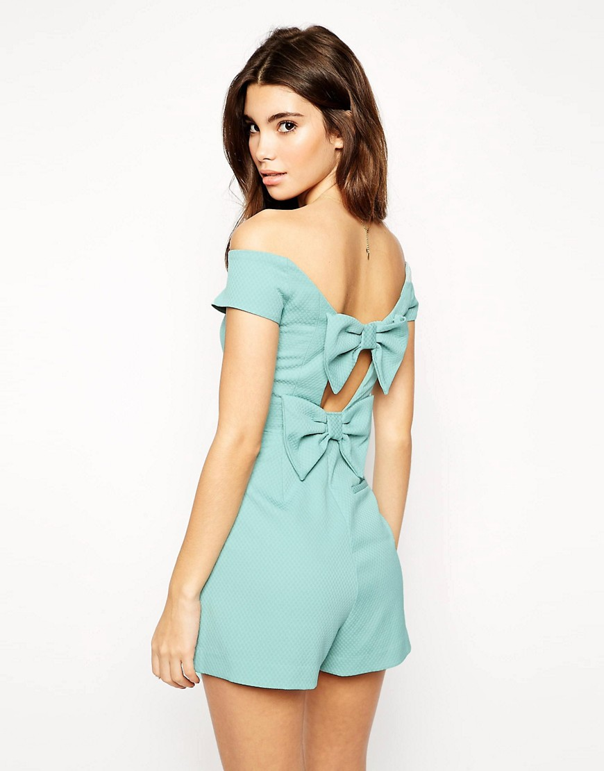 Image 1 of ASOS Romper in Bardot in Bow Back Detail