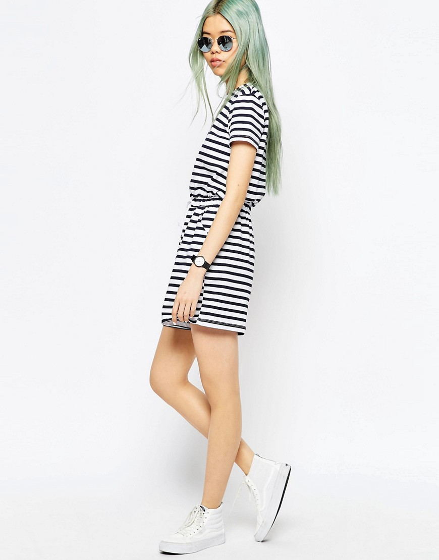 Image 4 of ASOS Stripe Casual Playsuit with Tie