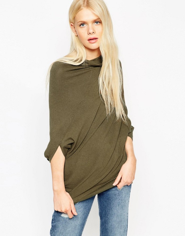 ASOS Asymmetric Sweater With Funnel Neck in Khaki