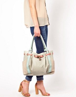 Image 3 of Oasis Western Lock Colour Block Tote Bag