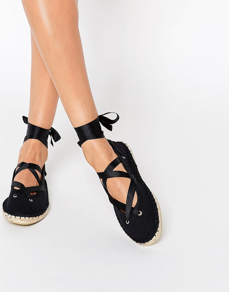 Image 1 of ASOS JUSTICE Lace Up Ballet Espadrilles