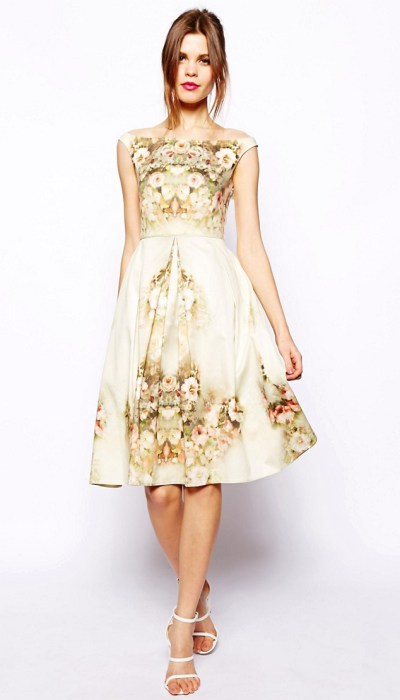Vintage Floral Midi Bardot Dress £85 from ASOS
