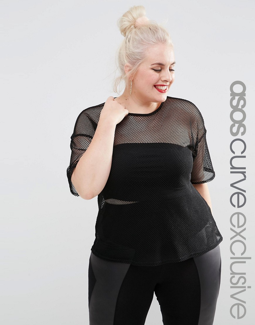 Image 1 ofASOS CURVE T-Shirt In All Over Net Mesh Jersey