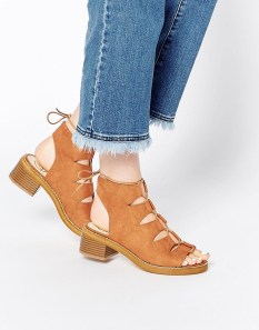 Image 1 ofMissguided Lace Up Block Heel Shoes