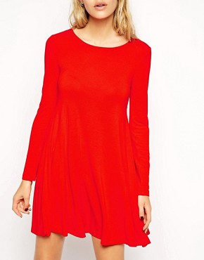 Image 3 of ASOS Seamed Swing Dress with Long Sleeves