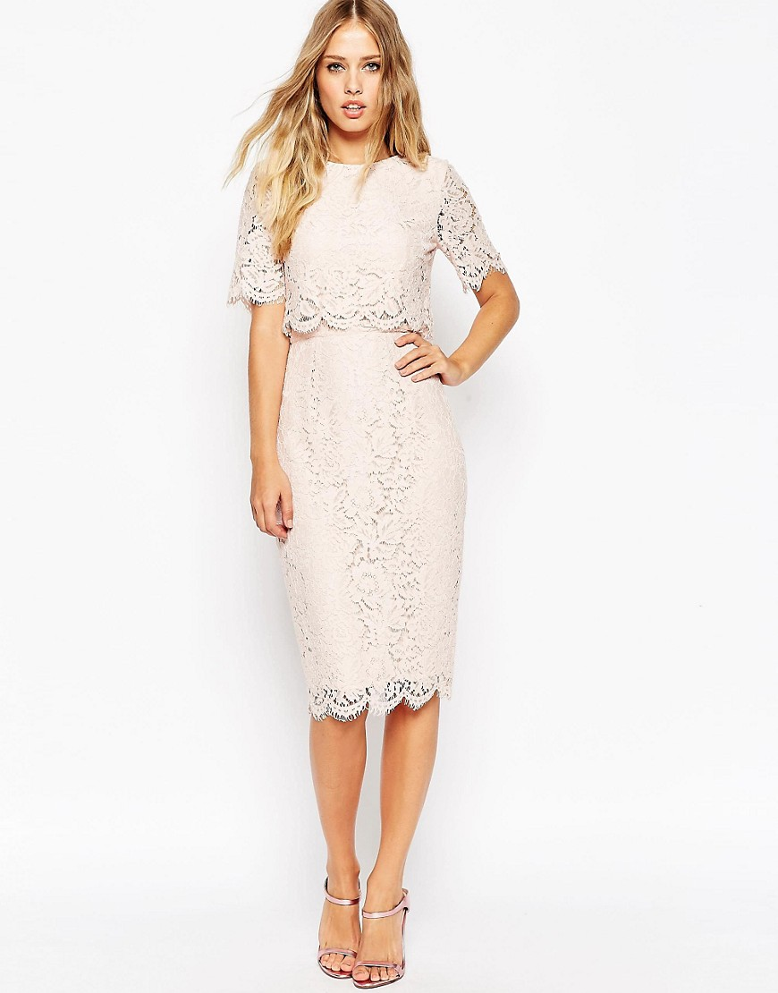 Image 1 of ASOS Lace Crop Top Midi Pencil Dress